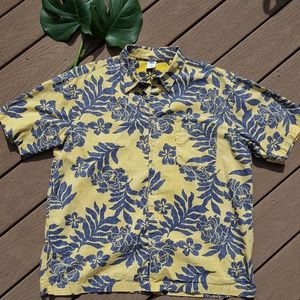 Reverse Print Palm Fronds Hawaiian Aloha Shirt XL